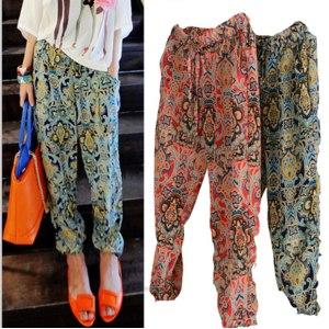 Штаны AliExpress Free Size Women Chiffon Pants Casual Flower Print Harem Trousers 2015 Spring Korean Designer calca feminina фото
