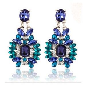 Серьги Aliexpress New Summer Bohemian Colorful Big Drop Earrings Fashion Accessories Crystal Dangle Earrings Jewelry Women Gift Free фото