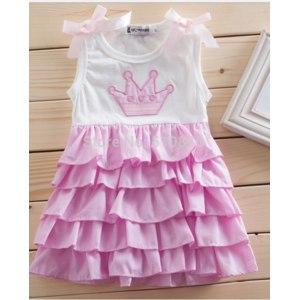 Платье детское AliExpress HB0281 Fashion cute bowkont layer princess baby dress/girl sleeveless dress summer, pink baby clothes,/Free shipping Honey Baby фото