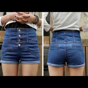 Шорты AliExpress  2014 New Summer Women's Vintage High Waist Denim Shorts Casual Ladies Slim Jeans Short Pants #L0341066 фото