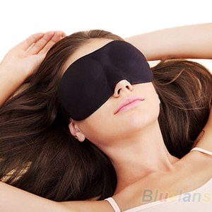 Маска для сна Aliexpress 1PC Black Sleeping Eye Mask Blindfold with Earplugs Shade Travel Sleep Aid Cover Light Guide Wholesale фото