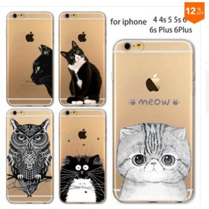 Чехол накладка на телефон Aliexpress Phone Case for Apple, iPhone 4 4S 5 5S 5C 6 6 S 6 plus 6 plus S soft TPU silicon thin transparent cute cat owl animals Cover фото
