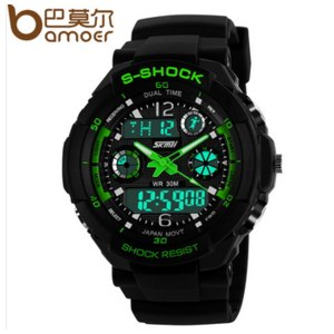 Часы мужские Aliexpress S-Shock Military Watch For Men 2times Zone Back Light Quartz Chronograph Silicone Sport Wristwatch WA3001 фото