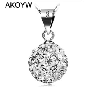 Подвеска Aliexpress S925 sterling silver jewelry wholesale crystal ball necklace vintage sterling silver jewelry natural crystal Shambhala фото