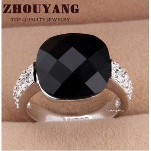 Кольцо Aliexpress Top Quality ZYR258 Black Acrylic Vintage Party Rings Cat Ring 18K White Gold Plated Austrian Crystals Wholesale фото