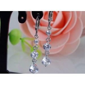 Серьги Aliexpress wholesale Free Shipping 1Pair sterling silver Pretty CZ Cubic Zirconia Beautiful Charming Womens Drop earrings фото