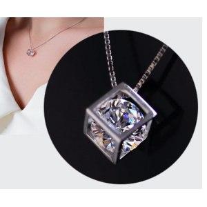 Подвеска Aliexpress S925 sterling silver love cube crystal pendants Ms. square window Korean love silver jewelry women's jewelry фото