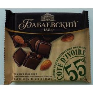Темный шоколад Бабаевский с цельным карамелизированным миндалем фото