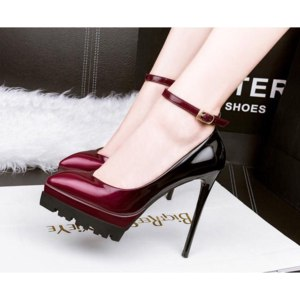 Туфли на высоком каблуке Aliexpress Nysiani Ultra High Platform Heels For Women 2016 Autumn Thin Heels Shoes Patent Leather Buckle Strap Sexy Pointed Toe Pumps Shoe фото