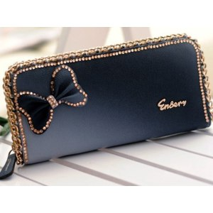 Кошелек Aliexpress New fashion long handbag lady wallet bow butterfly diamond women purse free shipping WBG0056 фото