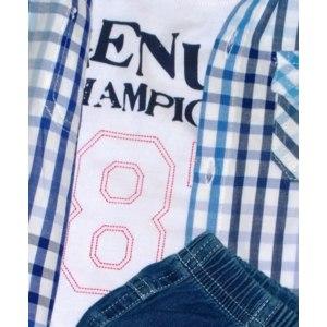 Комплект Bolichin/Боличин для мальчика (сорочка, джемпер, брюки джинсовые) фото
