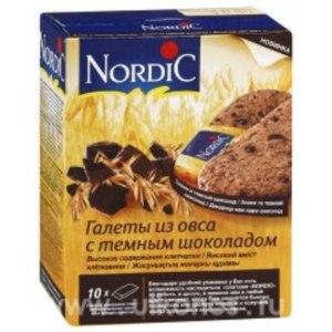 Печенье Nordic Галеты овсяные с темным шоколадом фото