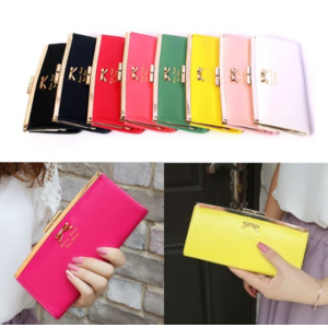 Кошелек Aliexpress New Women wallet Golden Bow knot Long PU Leather Card Holders Clips Hasp Buckle Open Wallets Clutch Purse#L09333 фото
