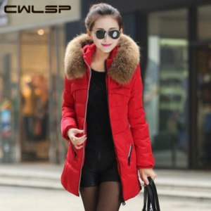Пуховик AliExpress CWLSP New 2014 Jacket Winter Coat Thicken Slim Female Raccoon Fur Collar Long Coat Women Casual Parka Coat Plus Size S-4XL SH69 фото