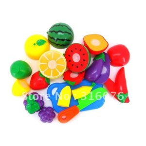 Aliexpress Фрукты на липучках 16pcs/Set Plastic Kitchen Food Fruit Vegetable Cutting Kids Pretend Play Educational Puzzle Learning Plastic Toy Satety фото