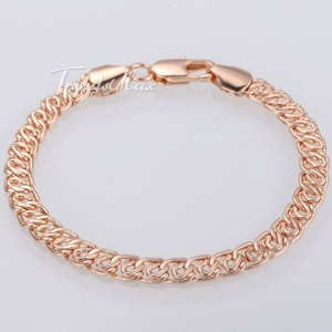 Браслет Aliexpress 7MM Wide Womens Mens Chain Unisex Boys Girls Snail Link 18K Rose Gold Filled Bracelet Bulk Sale Gift Jewelry GB293 фото