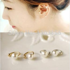 Кафф Aliexpress 1x Woman Fashion Jewelry Pearl Ear Clip Cuff Wrap No piercing-Clip On Earrings фото