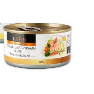 Консервы рыбные De Luxe Foods&Goods Selected Тунец кусочками в масле фото