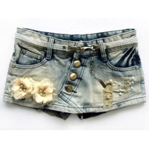 Шорты AliExpress New Autumn Flowers Beading Ornament Denim Shorts Korean Style Buttum Shorts Skirts фото