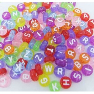 Цветные бусины Буквы Aliexpress 7 мм/7mm Mixed Colorful Acrylic Letter Beads For DIY Loom Bands Jewelry Bracelets Making фото