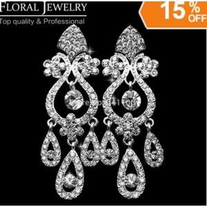 Серьги Aliexpress New 2015 Chandelier Crystal Rhinestone Silver Earrings Bridal Long Drop Earrings for Women Wedding Jewelry Free Shipping EH001 фото