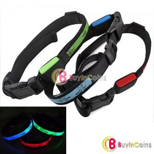 Ошейник BUYINCOINS New Pet Dog Cat LED Light Flashing Safety Nylon Collar фото