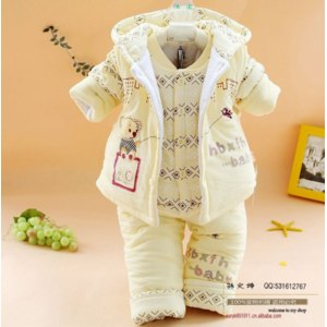 Костюм тройка AliExpress Promitons! new 2014 newborn baby girl clothing set the winter clothes for infant boys padded Bodysuits 3 pcs set warm outerwear фото