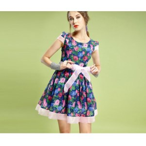 Платье AliExpress ELF SACK fashion brand new arrival 2014 women sweet royal organza flower print one-piece dress zipper slashes free shipping фото