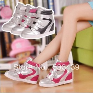 Сникерсы Aliexpress Wedges Casual Shoes Velcro Elevator Single Shoes Sport High-top Shoes Sneakers for Women Quality PU Leather Free Shipping фото
