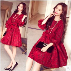 Платье AliExpress 2016 spring new Korean fashion temperament slim red dress mid-long lace dress women summer party dress vestido фото