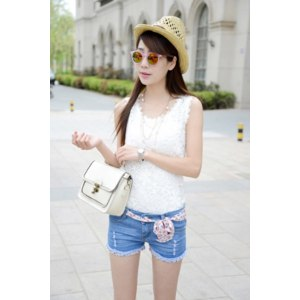 Шорты AliExpress 2014 summer new Korean women shorts hole large size women's denim shorts jeans B31-6609 фото