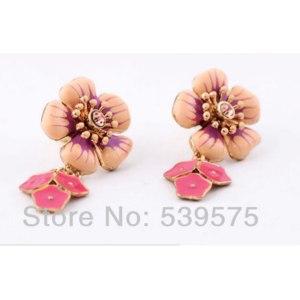 Серьги Aliexpress New Design Fashion Enameled Flower Pendant Earrings фото