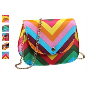 Сумка Женская Aliexpress Brand new Shoulder bags 2015 women hot sale Leather Messenger Bag Rainbow Stripes Designer Cross Body for women top quality фото