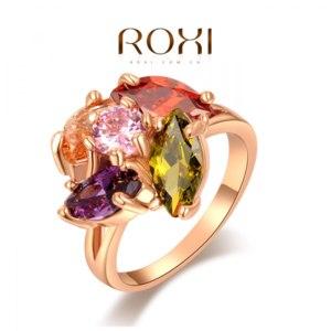 Кольцо Aliexpress Roxi Fashion Women's Jewelry High Quality Ring Rose Gold Plated Multi-Color Swiss CZ Hand Made фото