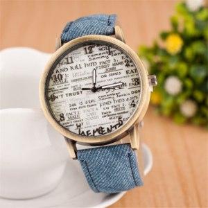 Часы женские Aliexpress 2015Top Quality New style Lowest Price Quartz Watches Fashion Big Ben Wristwatch Unique denim Watchband Women's digital Watch фото