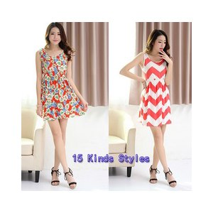 Платье AliExpress Hot sale ! New 2014 summer women's dresses vest package hip Printed casual dress women 15 Color Free shipping фото