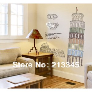 [Saturday Mall] - Italy Leaning Tower of Pisa patterns living room study Stickers fashion decorative wall 6058 фото