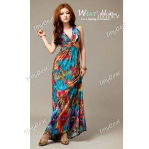 платье Tinydeal Exotic Bohemian Style Halter Neck Long Dress Skirt with Prints for Women Girl NLD-74610 фото