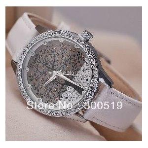 Часы женские Aliexpress JW221 Woman Fashion Watch SKONE Brand Clock Genuine Leather Watch Imitation Diamond Watch Tree Design Dress watch фото