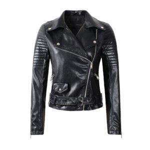Куртка AliExpress 2016 New Fashion Women Faux Leather Jacket Ladies Motorcycle PU Black Long Sleeve Coat with Belt фото