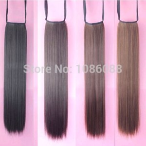Накладные волосы Aliexpress Women's Ladies Girls 50cm Long Straight Hair Piece Steel Synthetic Ponytail Hair Extensions Beautiful Hair piece Free shipping фото