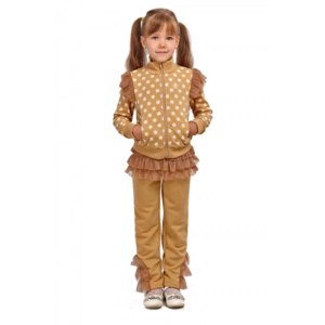Спортивный костюм Nikkas для девочки с юбочкой Butterfly бежевый фото