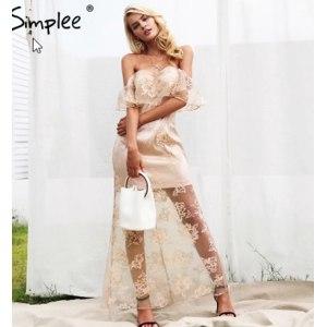 Платье AliExpress Women's autumn Lace maxi dress Simplee, elegant fashion evening long dress with off shoulder, ruffles, Lining and high waist фото