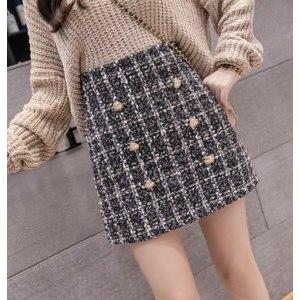 Юбка AliExpress Autumn and winter tweed mini skirt, women's sexy plaid skirt, women's fashion Korean double-breasted high waist skirt фото