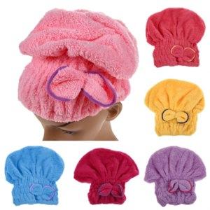 Полотенце-тюрбан Aliexpress 1PCS Home Textile Microfiber Solid Hair Turban Quickly Dry Hair Hat Wrapped Towel Bath 6 Colors Available фото