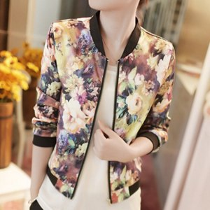 Ветровка AliExpress 2015 New Excellent Style lady Women coats Stand Floral Printed O-Neck Collar Long Sleeve Zipper Jacket Plus size 2XL фото