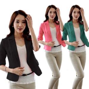Пиджак Ebay  Women Blazer Sexy 3/4 Sleeve One Button Short OL Suit Jacket Coat O фото