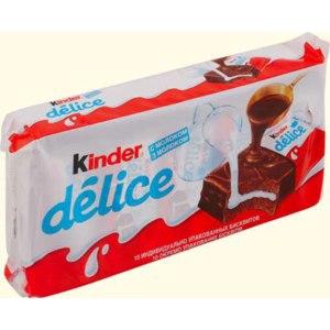 Пирожное  FERRERO Kinder Delice бисквитное, покрытое какао-глазурью, с молочной начинкой фото
