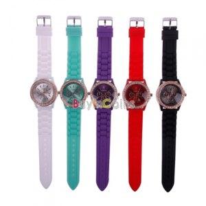 Наручные часы Buyincoins Hot Eye-catching Rosegold Bling Shape Crystal Silicone Sport Wristwatch фото