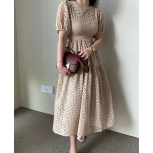 Платье летнее AliExpress SMTHMA Sexy Office Chic Summer Dress Women O Neck Embroidery Hollow Out High Waist Long Vestidos Female 2021 Fashion Clothes New фото